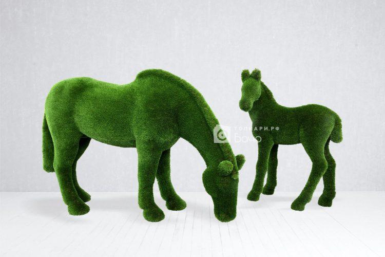 Топиарная композиция кони на лугу